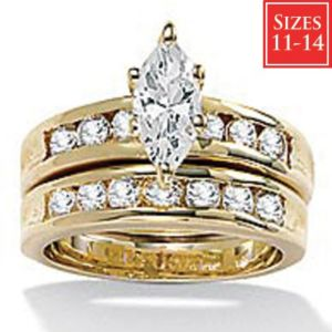 2-Piece cubic zirconia Wedding Ring Set