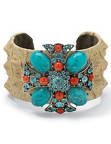 "Crystal Cross Cuff Bracelet 7 1/2"" by PalmBeach Jewelry"