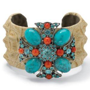 """Crystal Cross Cuff Bracelet 7 1/2"""""""
