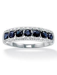 Blue Sapphire 10k White Gold Ring by PalmBeach Jewelry