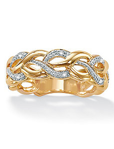 Diamond Acc. 18k/SS Braided Band by PalmBeach Jewelry