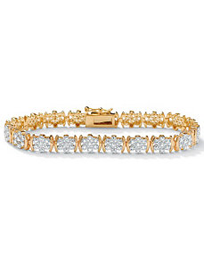 "Diamond 18k/SS Bracelet 7 1/4"" by PalmBeach Jewelry"