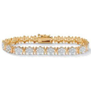 """Diamond 18k/SS Bracelet 7 1/4"""""""