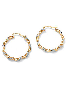 Diamond Acc. 18k/SS Earrings by PalmBeach Jewelry