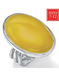 Yellow Jade Silver Ring by PalmBeach Jewelry