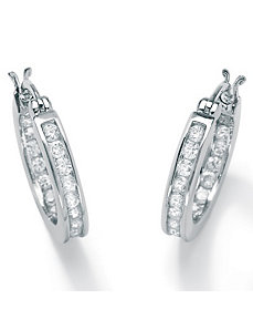 Cubic Zirconia Platinum/SS Hoop Earrings by PalmBeach Jewelry