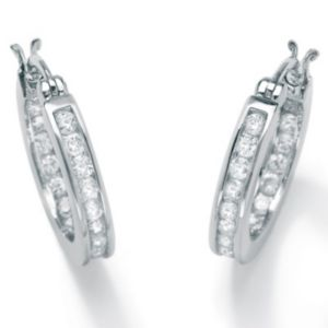 Cubic Zirconia Platinum/SS Hoop Earrings