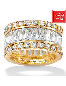 Cubic Zirconia 18k/SS Eternity Band by PalmBeach Jewelry