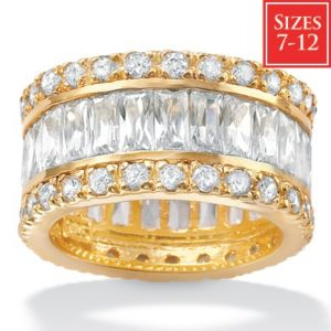 Cubic Zirconia 18k/SS Eternity Band