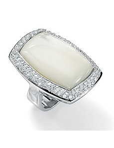 Mother-Of-Pearl/Cubic Zirconia Silver Ring by PalmBeach Jewelry