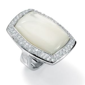Mother-Of-Pearl/Cubic Zirconia Silver Ring