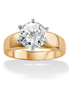 Cubic Zirconia 18k/SS Ring by PalmBeach Jewelry