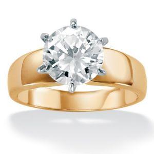 Cubic Zirconia 18k/SS Ring