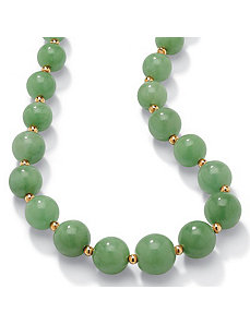 Green Jade 10k Beaded Necklace 18