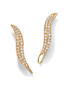 Cubic Zirconia 18k/SS Ear Pins® by PalmBeach Jewelry