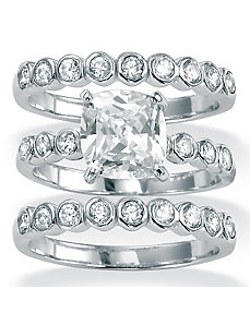 3-Piece Cubic Zirconia Platinum/SS Bridal Set by PalmBeach Jewelry