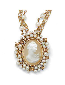 "Cameo Lucite Pendant/Necklace 18"" by PalmBeach Jewelry"