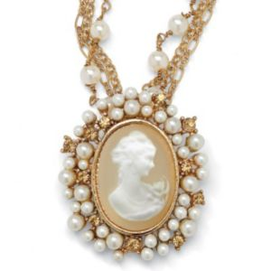 Cameo Lucite Pendant/Necklace 18""