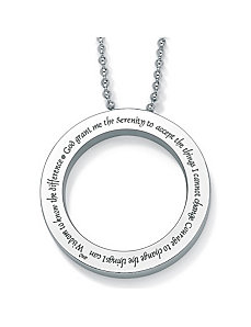 Stainless Serenity Prayer Pendant by PalmBeach Jewelry