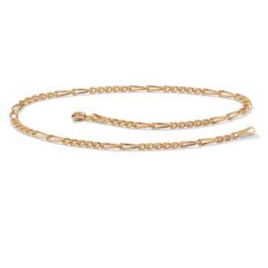Figaro-Link 10k Gold Ankle Bracelet
