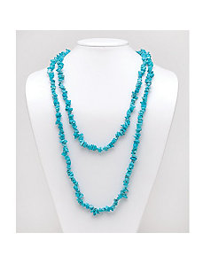 "Turquoise Nugget Necklace 54"" by PalmBeach Jewelry"