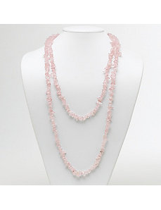 "Rose Quartz Nugget Necklace 54"" by PalmBeach Jewelry"