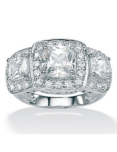Cubic Zirconia Plat/SS Ring by PalmBeach Jewelry