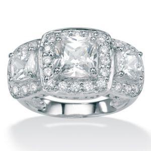 Cubic Zirconia Plat/SS Ring