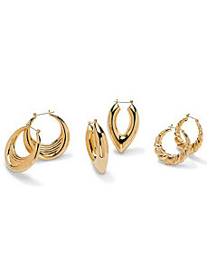 3-Piece Hoop Earring Set by PalmBeach Jewelry