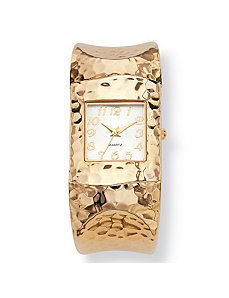 "Hammered-style Cuff Watch 7 3/4"" by PalmBeach Jewelry"