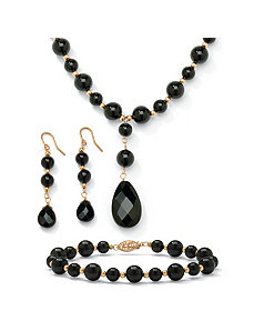 3-Piece Onyx 10k Beaded Set by PalmBeach Jewelry
