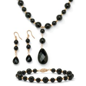 3-Piece Onyx 10k Beaded Set