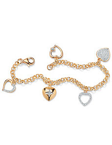 Diamond Acc. 18K/SS Heart Bracelet by PalmBeach Jewelry