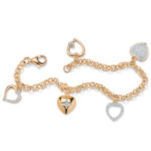 Diamond Acc. 18K/SS Heart Bracelet