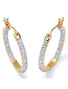 Diamond 18k/SS Hoop Earrings by PalmBeach Jewelry