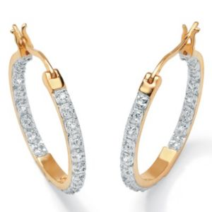 Diamond 18k/SS Hoop Earrings