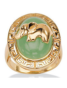 Green Jade 18k/SS Elephant Ring by PalmBeach Jewelry