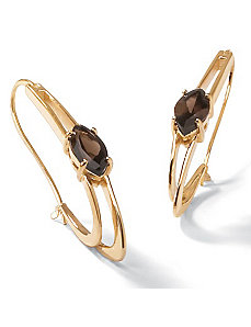 Smoky Quartz Oblong Hoop Earrings by PalmBeach Jewelry