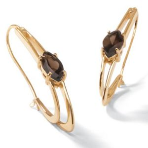 Smoky Quartz Oblong Hoop Earrings