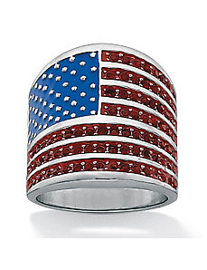 American Flag Crystal Ring by PalmBeach Jewelry