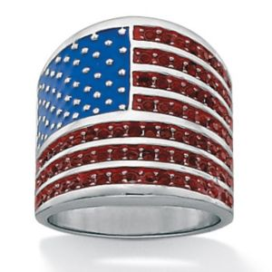 American Flag Crystal Ring