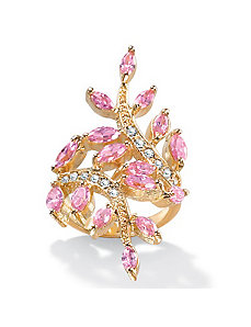 Cubic Zirconia Pink Leaf 14k gold-plated Ring by PalmBeach Jewelry