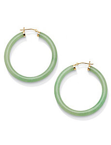 Green Jade 10k Hoop Earrings by PalmBeach Jewelry