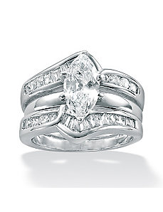 2-Piece Cubic Zirconia SS Wedding Ring Set by PalmBeach Jewelry