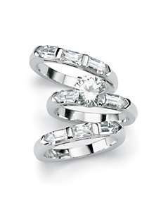 3-Piece Cubic Zirconia Silver Bridal Set by PalmBeach Jewelry