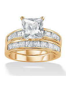 2-Piececubic zirconia Solitaire Ring Set by PalmBeach Jewelry