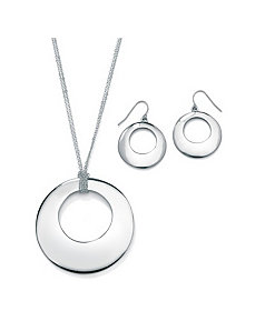 2-Piece Jewelry Set Silvertone by PalmBeach Jewelry