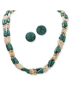 2-Piece Sim. Turquoise/Pearl Set by PalmBeach Jewelry