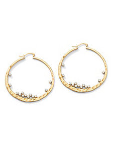 Cubic Zirconia Hammered Hoop Pierced Earrings by PalmBeach Jewelry