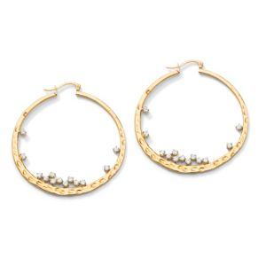 Cubic Zirconia Hammered Hoop Pierced Earrings